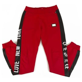 Philipp Plein-Philpp Plein junior Sweatpants Trousers Red and black for Boys 12-13 years old-Black,Red