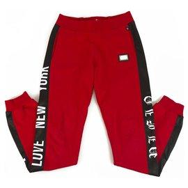 Philipp Plein-Pantalon de survêtement junior Philpp Plein rouge et noir pour garçon 12-13 ans-Noir,Rouge