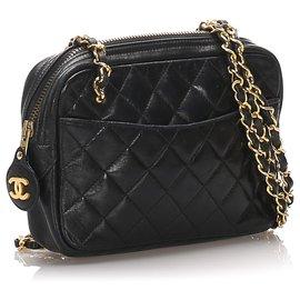Chanel-Sac porté épaule en cuir d'agneau noir Chanel-Noir