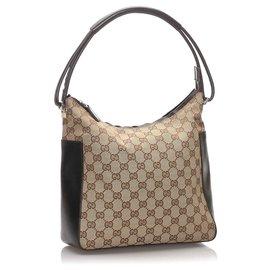 Gucci-Gucci Brown GG Sac en bandoulière-Marron,Beige