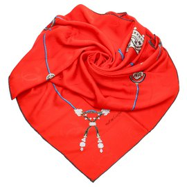 Cartier-Cartier Red Printed Silk Scarf-Red