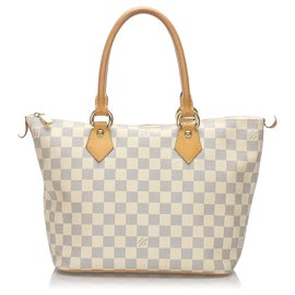 Louis Vuitton-Louis Vuitton Blanc Damier Azur Saleya PM-Blanc,Bleu