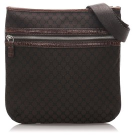 Céline-Celine Brown Macadam Canvas Shoulder Bag-Brown,Dark brown