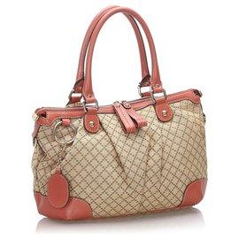 Gucci-Gucci Brown Diamante Canvas Sukey Sacoche-Marron,Rose,Beige,Autre