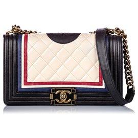 Chanel-Sac Boy Chanel Blanc Crest Medium-Embellished-Blanc,Multicolore