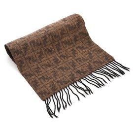 Fendi-Fendi Foulard en laine marron à franges en zucca-Marron