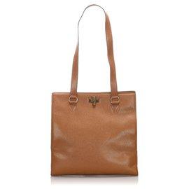 Céline-Celine Brown Leather Tote Bag-Brown