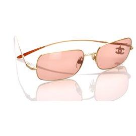 Chanel-Chanel Pink Rhinestone CC Sunglasses-Pink