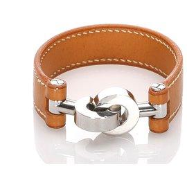 Hermès-Bracelet cuir Lancelot marron Hermes-Marron