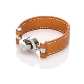 Hermès-Hermes Brown Lancelot Leather Bracelet-Brown
