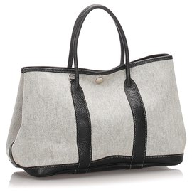 Hermès-Hermes White Garden Party TPM-Marron,Blanc,Écru,Marron foncé