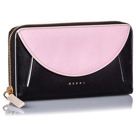 Marni-Marni Black Leather Zip Wallet-Black,Pink