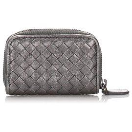 Bottega Veneta-Bottega Veneta Gray Intrecciato Metallic Leather Wallet-Grey