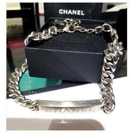 Chanel-Collier ras de cou chunky unisexe Chanel-Argenté