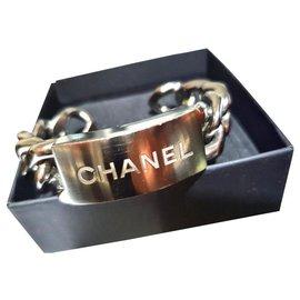 Chanel-Bracelet manchette épaisse Chanel-Argenté