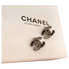 Chanel-Boucles d'oreilles-Gris anthracite