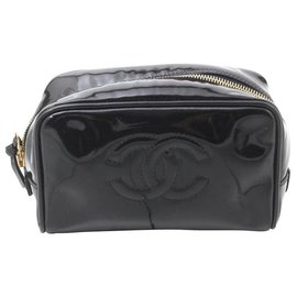 Chanel-Chanel Pochette cuir vernis-Noir