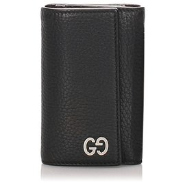 Gucci-Gucci Black Leather GG Key Holder-Black