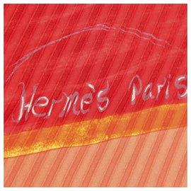 Hermès-Foulard en soie plissé orange Hermes-Multicolore,Orange