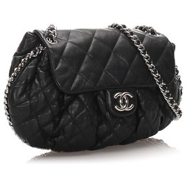Chanel-Chanel Black Large Chain Around Messenger Bag-Noir