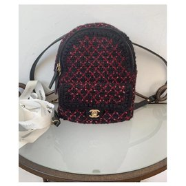 Chanel-Sac à dos Chanel Knit and Gold-tone metal Backpack-Noir,Rose