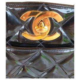Chanel-CHANEL vintage sac cuir vernis-Noir