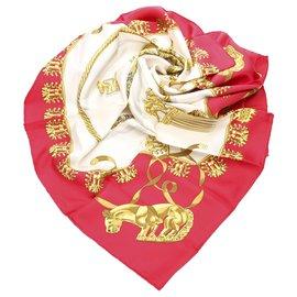 Hermès-Écharpe Hermes Red Cavaliers dOr en soie-Rouge