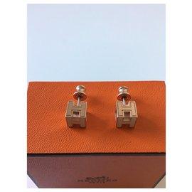 Hermès-Boucles d' oreilles cage d' H  de chez Hermès-Blanc