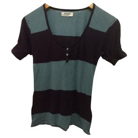 Acne-Acne Gonzo Block short sleeved knitted Top-Blue,Navy blue