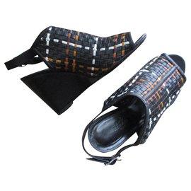 Hermès-Sandales compensées cuir tressé, 38,5IT.-Multicolore