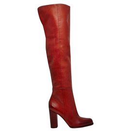 Sam Edelman-Sam Edelman Leather Thigh High Boots in Rusty Red. never worn.-Red