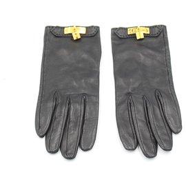 Hermès-Hermès gloves in black leather Size 6.5.-Noir