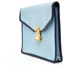 Céline-PASTEL NAVY LEATHER DIAMOND CLUTCH-Light blue