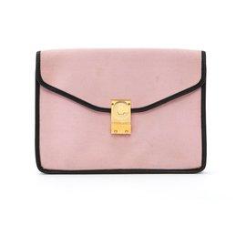 Céline-PASTEL BURGUNDY LEATHER DIAMOND CLUTCH-Pink,Dark red