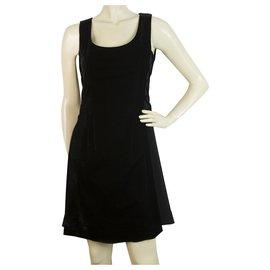 Céline-Celine Black Velvet Sleeveless Criss Cross Sides Mini Length Tank Dress Size 36-Black