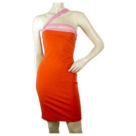 Dsquared2-DSquared 2 D2 Orange with Pink Straps Stretch Bodycon Mini Dress Size XS-Orange