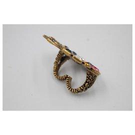 Gucci-Bague G doublée de Gucci avec cristaux multicolores - portée 2 doigts-Multicolore