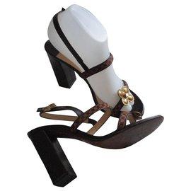 Louis Vuitton-Foal checkered sandals, 37,5 IT.-Multiple colors