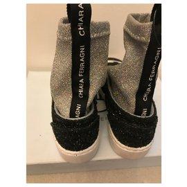 Chiara Ferragni-Glitter sneakers-Black,Silvery
