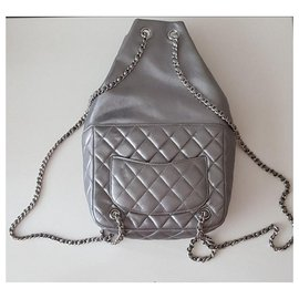 Chanel-Backpacks-Silvery