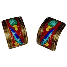 Hermès-Magnifiques Boucles d'oreilles Hermès en plaque or et Émail-Multicolore