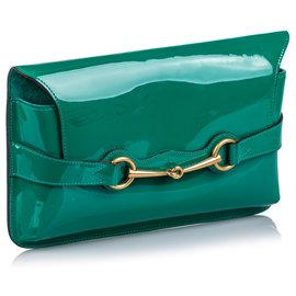 Gucci-Pochette Gucci en cuir verni vert brillant-Vert