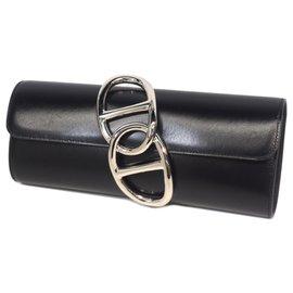 Hermès-Hermes Black Tadelakt Egee Clutch Bag-Black
