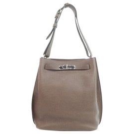 Hermès-Hermes Brown Clemence So Kelly 22-Marron,Beige