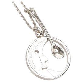 Louis Vuitton-Louis Vuitton Silver Lescot Rie Charm Necklace-Silvery