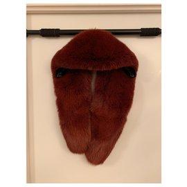 Céline-Celine fox fur collar, nine burgundy brown-Brown,Dark red