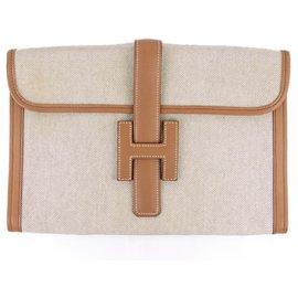 Hermès-Hermes Brown Toile Jige 29-Brown,Beige,Light brown