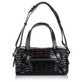 Burberry-Burberry Black Patent Leather Cartridge Pleat Shoulder Bag-Black