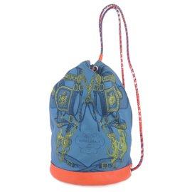 Hermès-Hermes Blue Sac Soie Cool 22-Blue,Orange