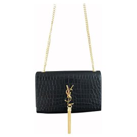 Saint Laurent-Saint Laurent Kate medium croco-Noir